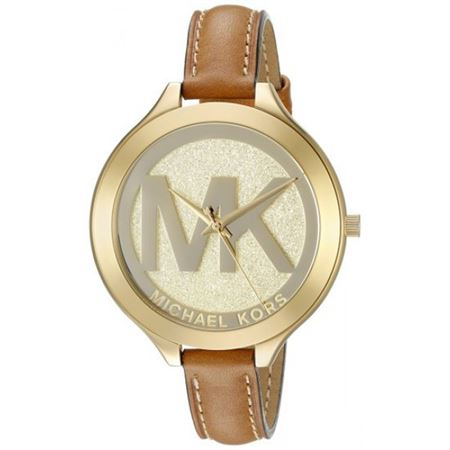 Picture of Michael Kors Women's MK2326 Slim Runway Stainless Steel Watch With Brown Leather Band