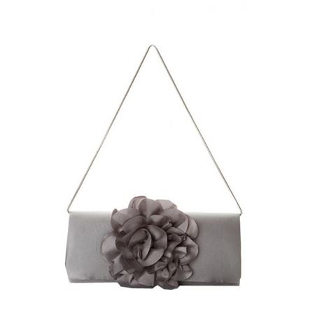 Picture of Net Flower Embellished Satin Clutch, Gray