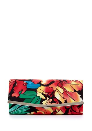Picture of La Regale Moody Floral Roll Clutch.