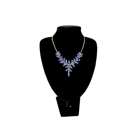 Picture of Blue Studded necklace with matching earrings