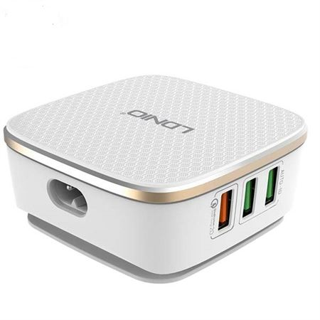 Picture of LDNIO 3.4A 3 USB Ports Auto ID Travel Charger- White