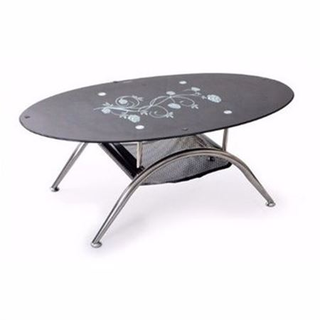 Picture of Black Tempered Glass Oval Center Table