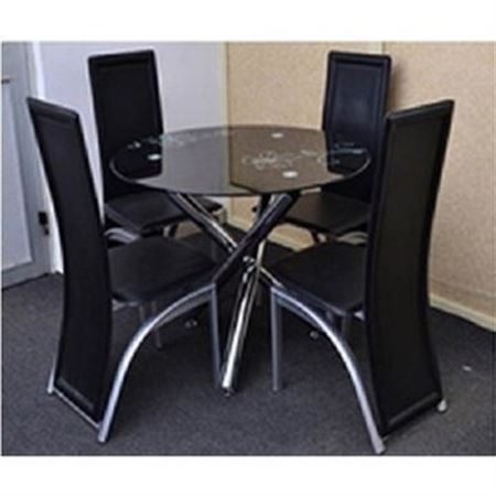 Picture of Round Glass Dining Table & 4 Seats Set - Black