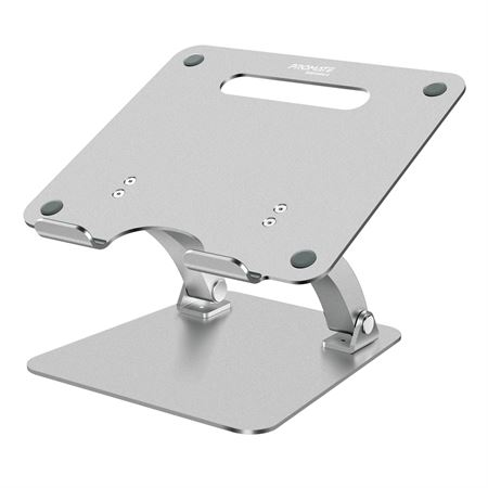 Picture of Promate Aluminium Laptop Stand  Portable Ergonomic Multi-Level Ventilated Notebook Stand with Non-Skid Silicon Grip and Adjustable Multi-Angle Design for Laptops up to 17 Inches  DeskMate-4 Silver