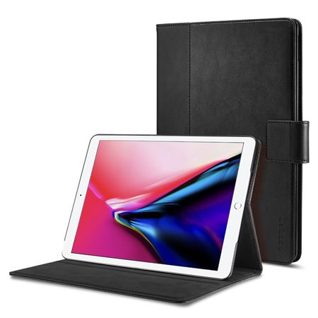 Picture of Spigen Apple iPad 9.7 inch 2018 / 2017 Stand Folio Leather stand cover / case - Black with Auto Sleep and Wake function