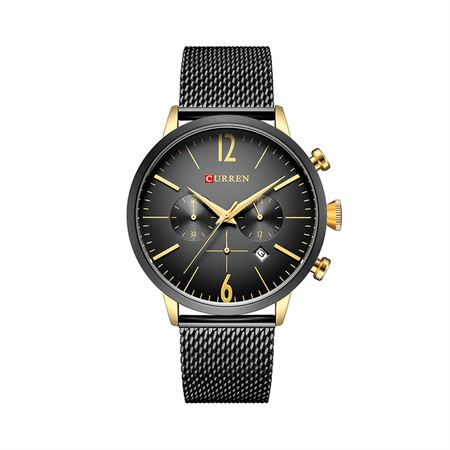 Picture of Curren Quartz Analog Watch Stainless Steel Band Wristwatch with Date Display  8313 - Gold
