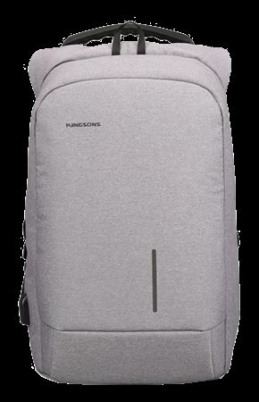 Picture of Kingsons Smart Backpack for 15.6-inch Laptop Light Grey with USB Port