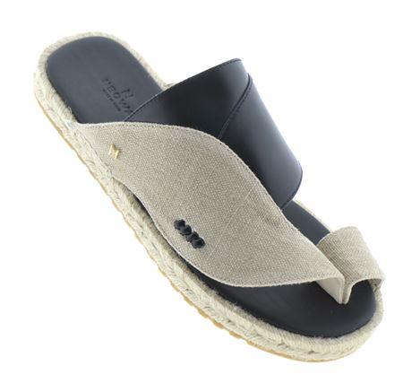 Picture of Neqwa Arabic Traditional Sandals Marbella - Linen Black Leather