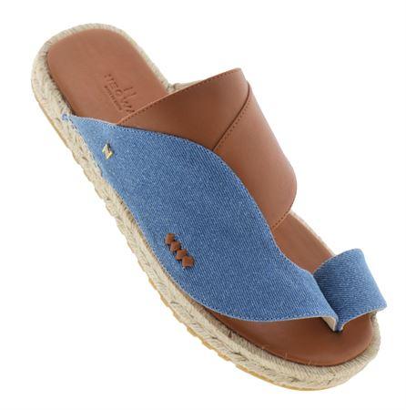 Picture of  Neqwa Arabic Traditional Sandals Marbella - Denim Tan Leather