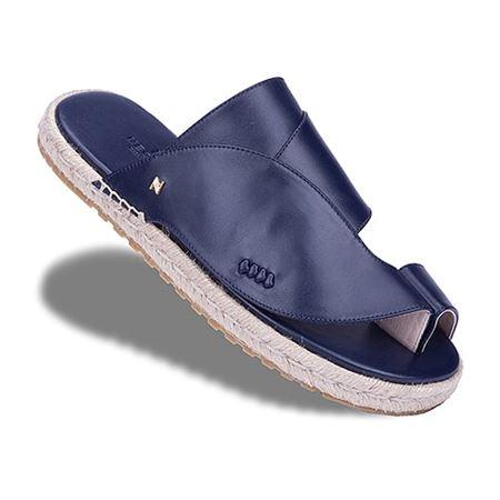 Picture of  Neqwa Arabic Traditional Sandals Marbella - Marine Blue Leather