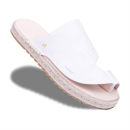 Picture of  Neqwa Arabic Traditional Sandals Marbella - White Textured Leather