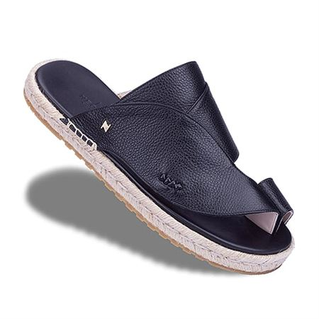 Picture of  Neqwa Arabic Traditional Sandals Marbella - Black Textured Leather