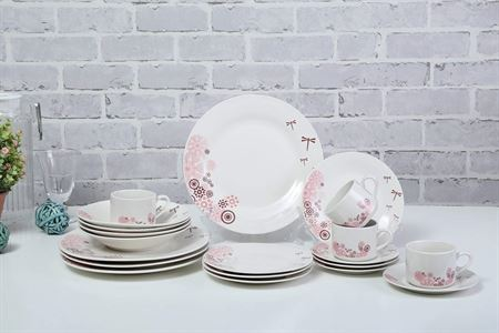 Picture of dessini-27-piece-floral-printed-dinner-set-white-pink-black-6xsquare-plate-11-6xsquare-plate-8-6xsquare-deep-plate-9-6xwave-square-bowl-6-2xsquare-oval-plate-13-1xspinning-square-bowl-9-5inch