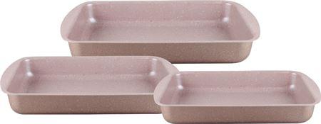 Picture of dessini-granite-coating-square-pan-3-pcs-for-kitchen-rose-gold