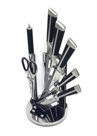 Picture of dessini-stainless-steel-knife-set-9-pieces-with-360-degree-stand