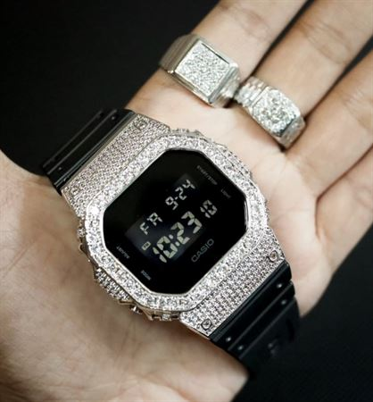 Picture of Luxury Watch G-Shock Crystal Bling DW-5600 White Silver Iced Out
