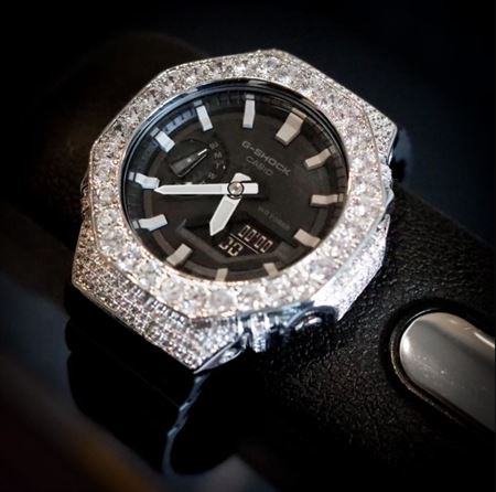 Picture of Luxury Watch G-Shock Crystal Bling GA-2100 AP White Silver Iced Out