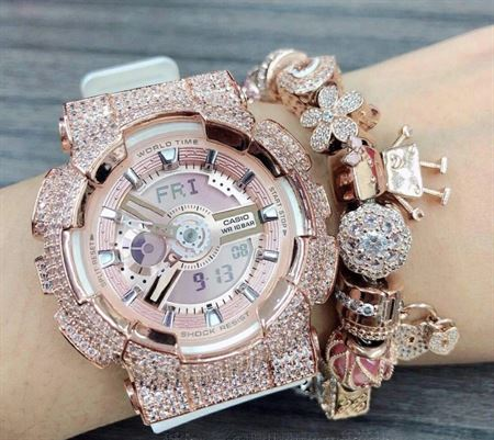 Picture of Luxury Watch Baby-G Crystal Bling BA-110 Pinkgold Iced Out