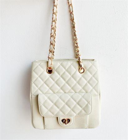 Picture of Littlebunnystore mini shopping bag 20 cm genuine leather in cream white